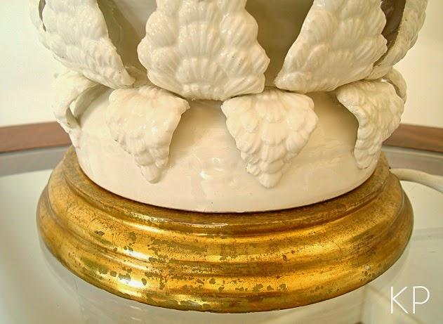 Lámparas manises con base dorada con pan de oro