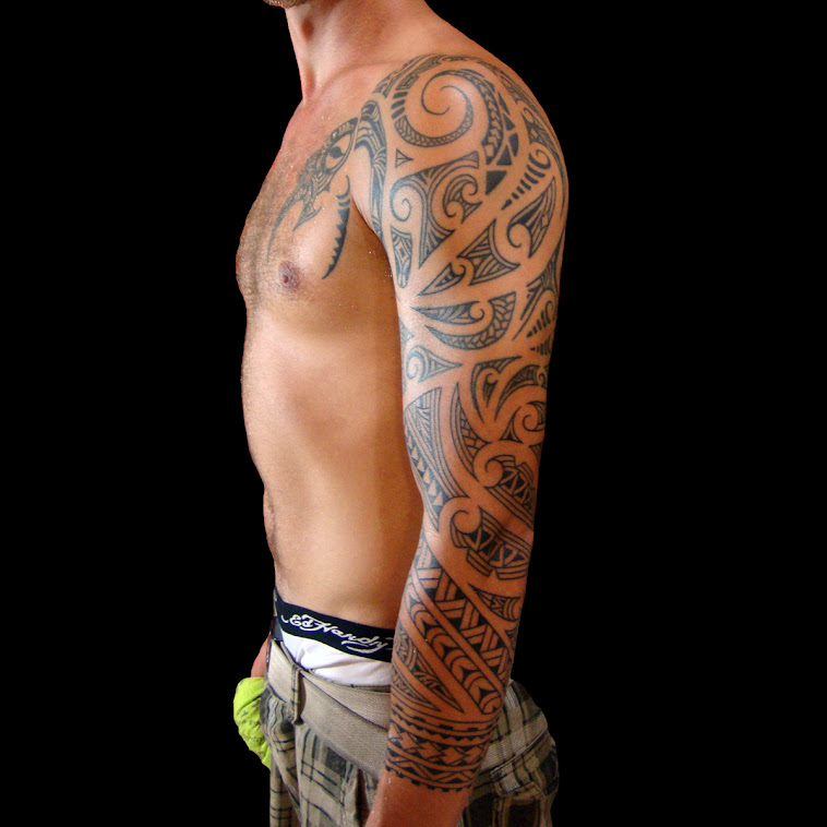full sleeve by bamboo tattoo maori style