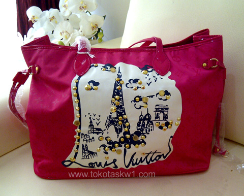 Kode: Tas Branded Louis Vuitton Neverfull Canvas Pink