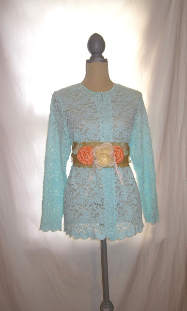 Lace and Burlap Based Handmade Rosette Embellished Sash Belt for Wedding