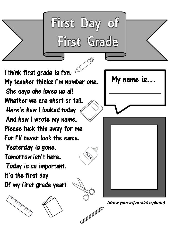 Printables First Day First Grade Worksheets enjoy teaching english first day of grade poem this cute at teachers pay published by kelly conner and as i love poems immediately turned it into a back to school