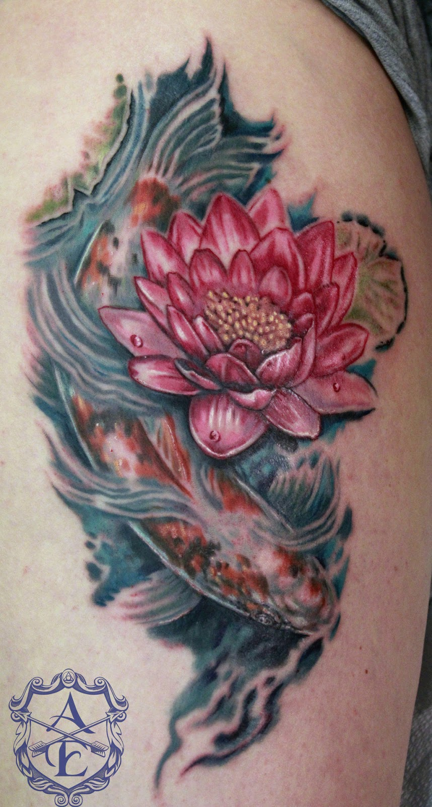 Bộ hình xăm cá chép hoa sen đẹp 2015 4