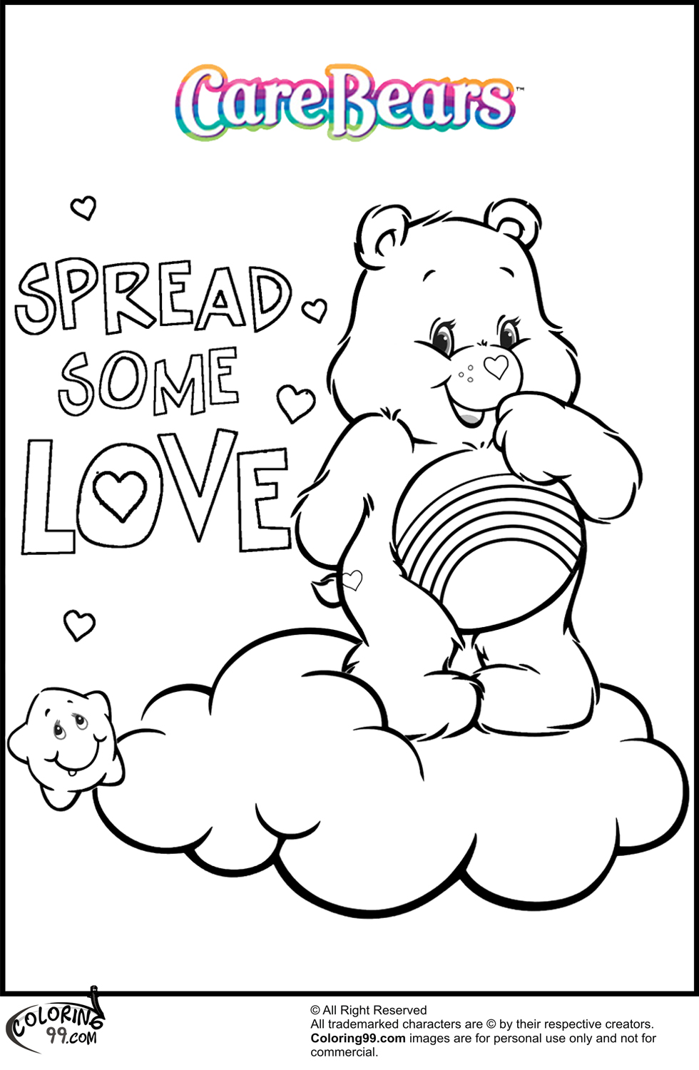 Care bear coloring pages team colors for Care bears coloring pages