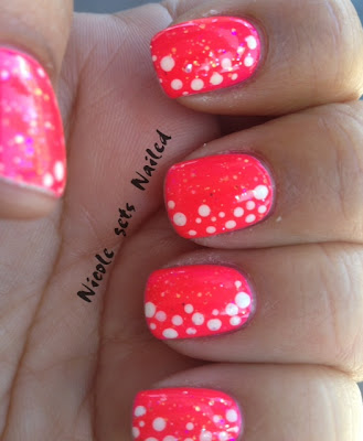 Neon Pink White Polka Dots Nails
