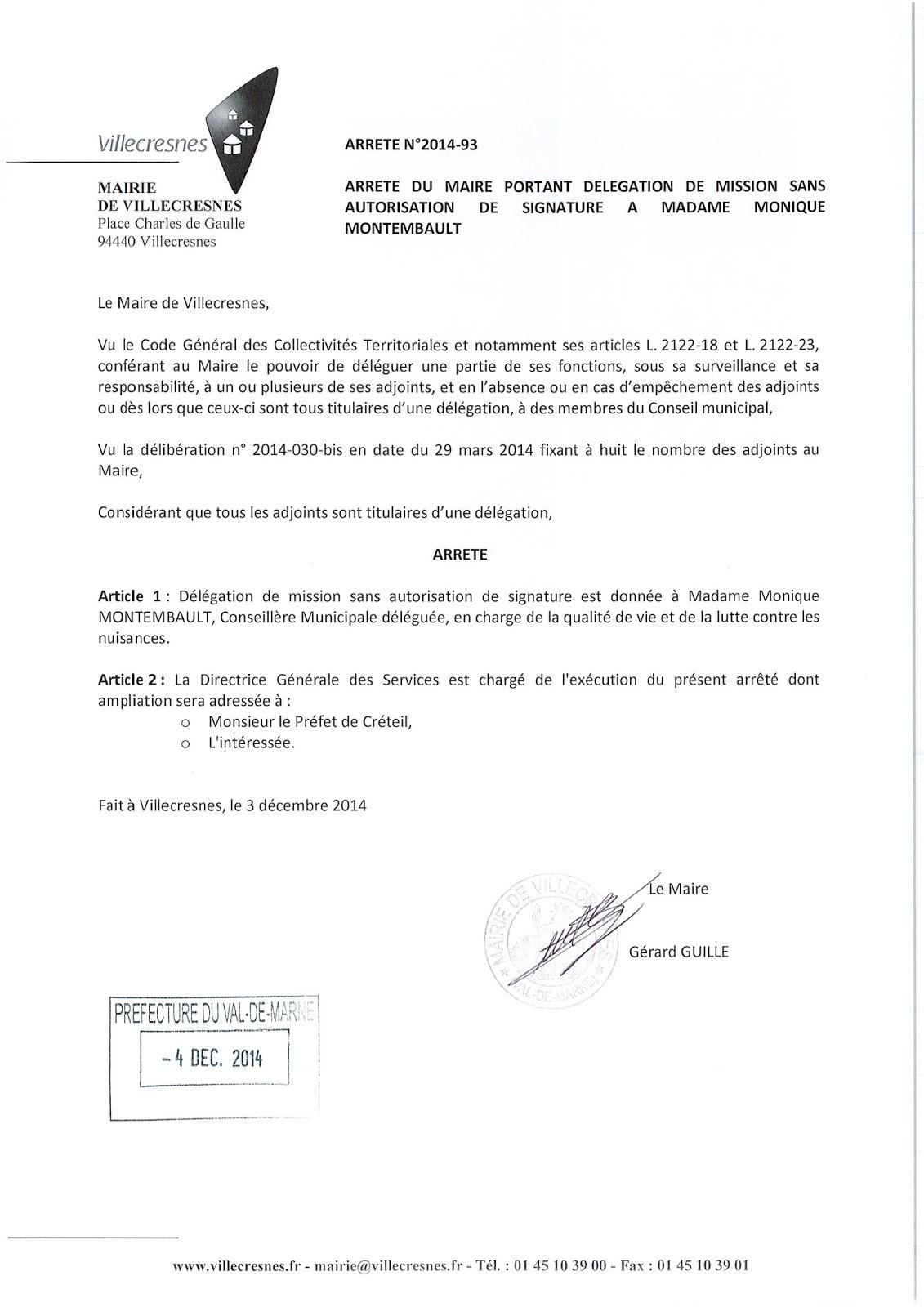 2014-093 Délégation de fonction mission sans autorisation de signature à Madame Monique Montembault