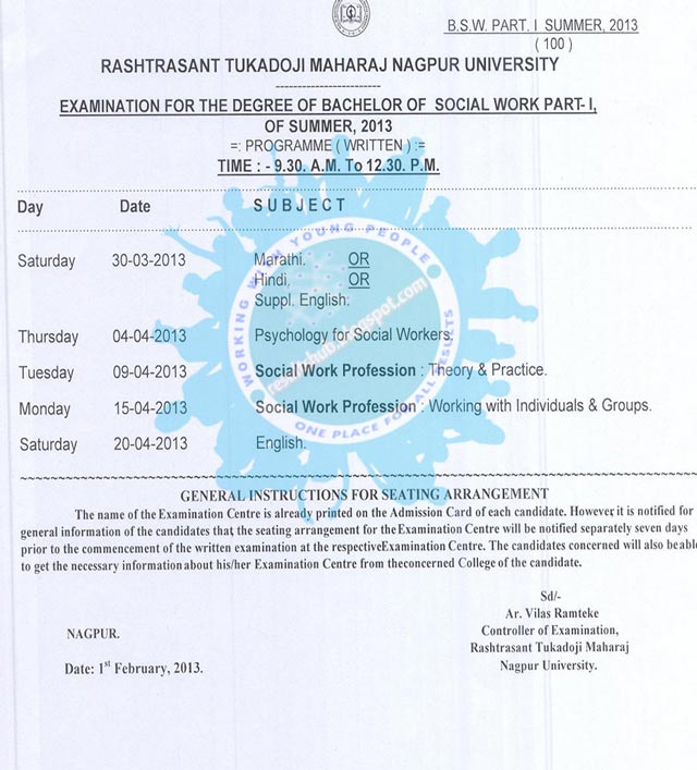 BSW Part 1 Summer 2013 Timetable RTM Nagpur University