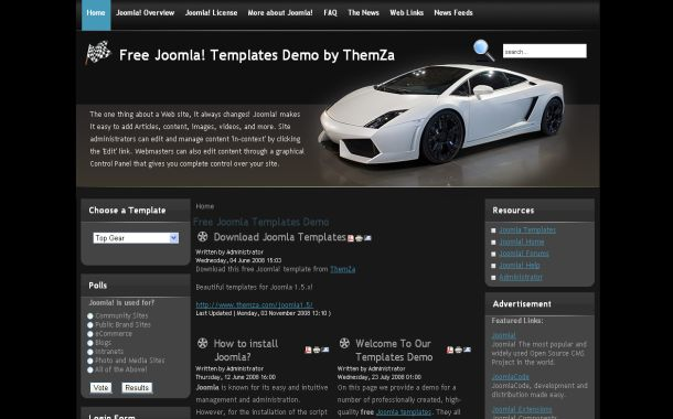 Free Joomla 1.5 Cars Jquery Black Theme Template