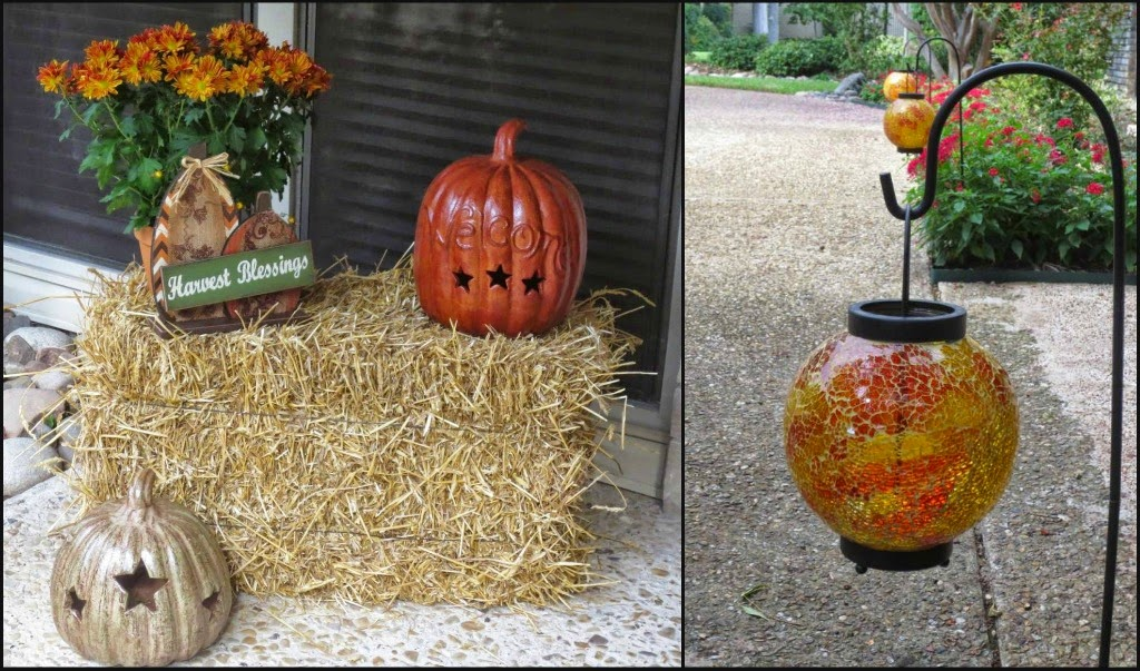 pumpkins, mums, hay bale, orange lanterns