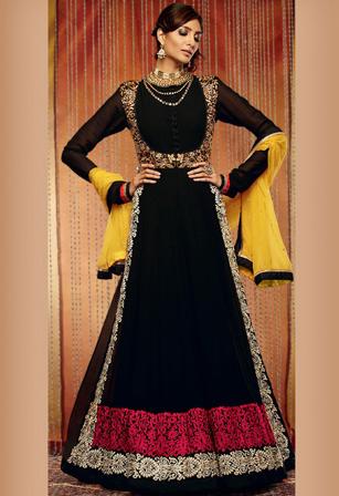 Black Faux Chiffon Abaya Style Suit