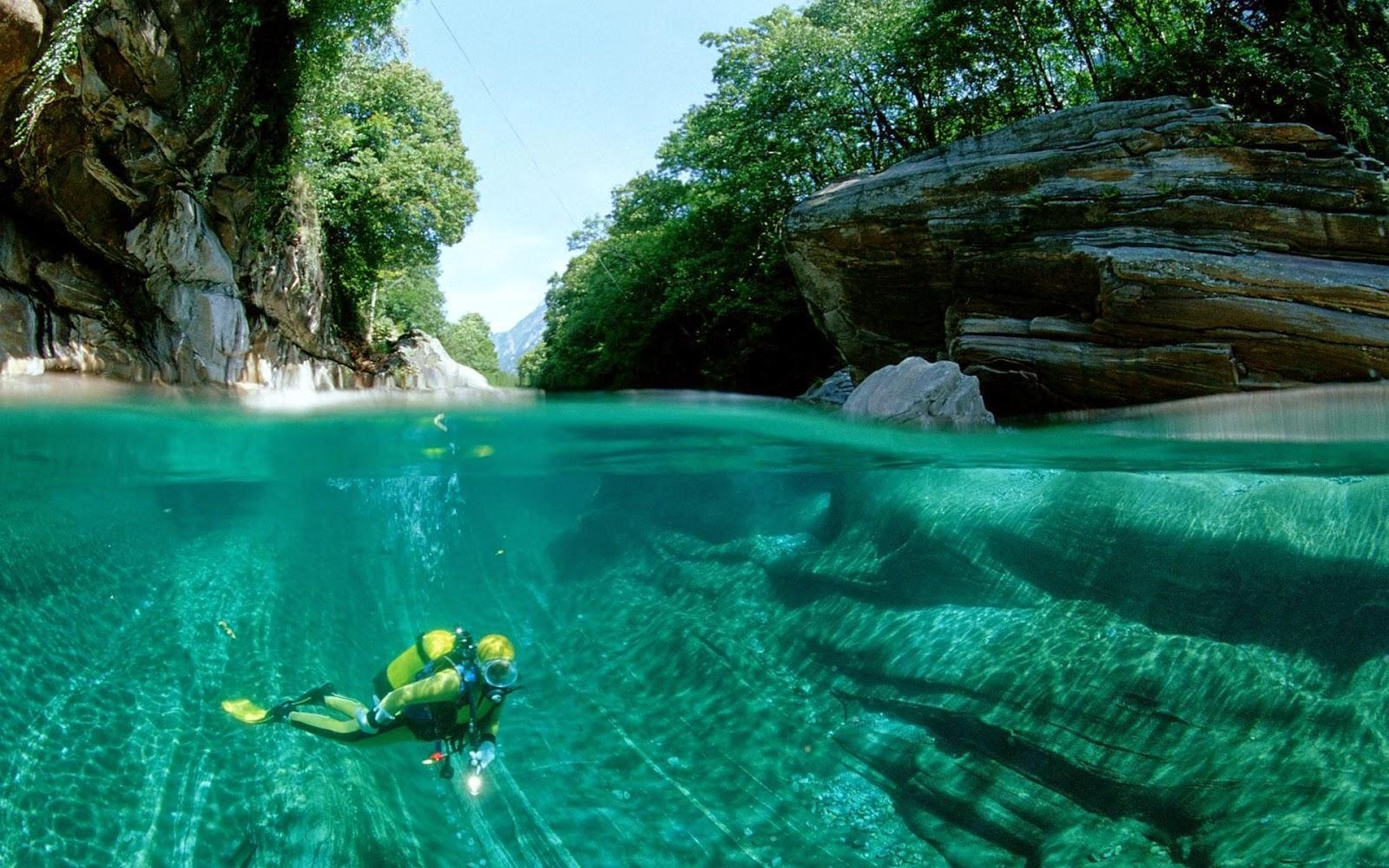 Achtergrond met man die in meer aan het duiken is