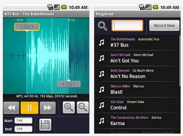 تطبيق مجاني للأندرويد لإنشاء النغمات الصوتية والتنبيهات بسهولة Ringdroid 2.5 APK