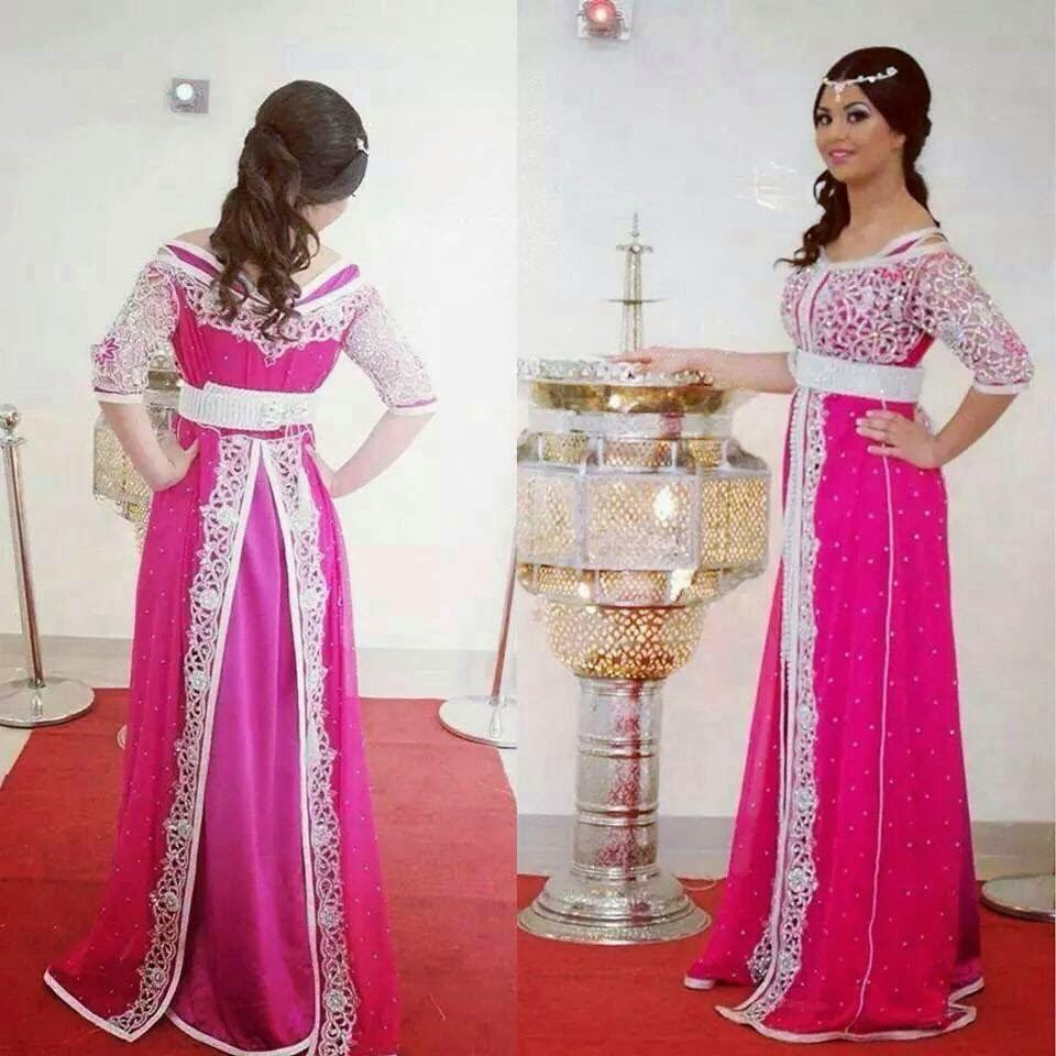 sari rose de luxe caftan de haute gamme pour mariage