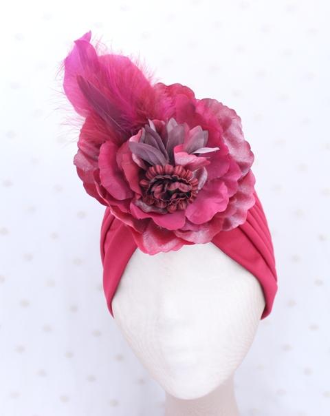 Colección Pedaleando -  Turbante Bouquet Granate