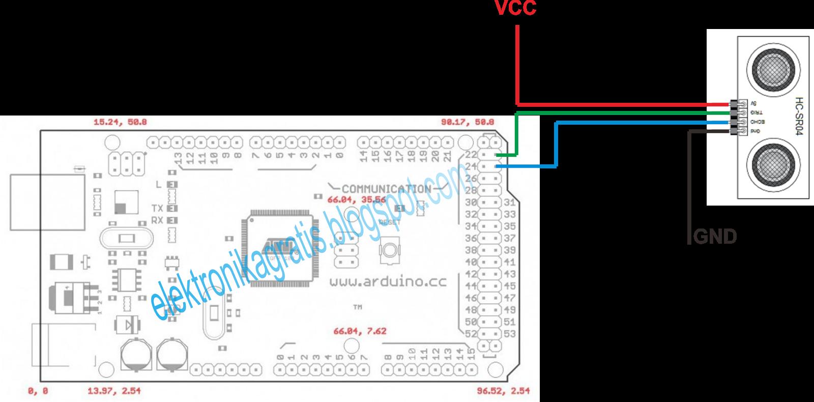 Elektronika Gratis Tutorial Arduino Indonesia Sensor Ultrasonik Hc Sr04 Datasheet 1 Hal Yang Perlu Dilakukan Pertama Kali Adalah Merangkai Rangkaian Seperti Gambar Berikut