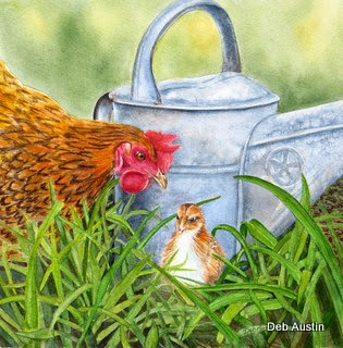 Mother Hen Knows Best (watercolor)