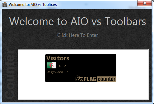 AIO vs Toolbars welcome window