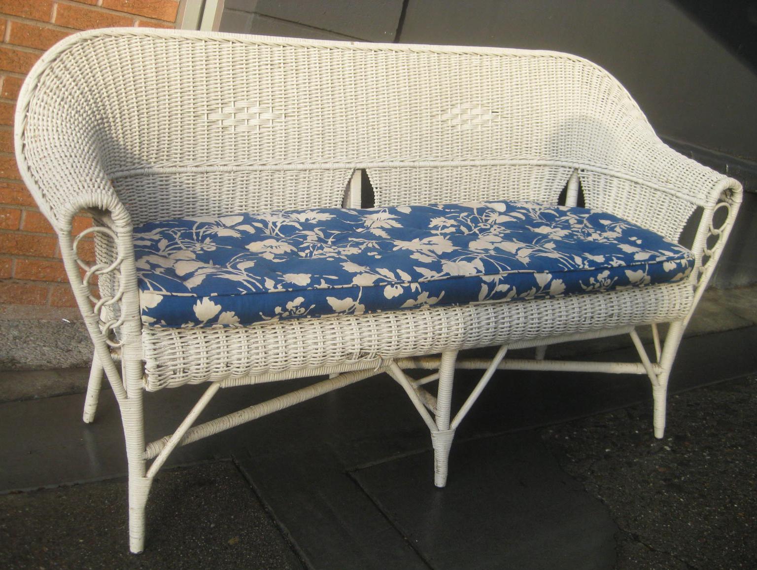 Uhuru Furniture Collectibles Sold White Wicker Sofa 50