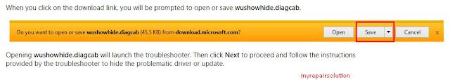 klik save untuk mendapatkan tools show or hide windows update