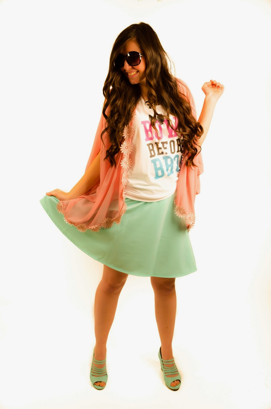 skreened graphic tee, bows before bros, graphic tee outfit, kimono outfit, lookbook store, mint skirt, dance party, fun times, daisy trim kimono, pink and mint outfit,