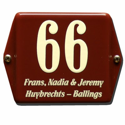 Emaille huisnummer met naam