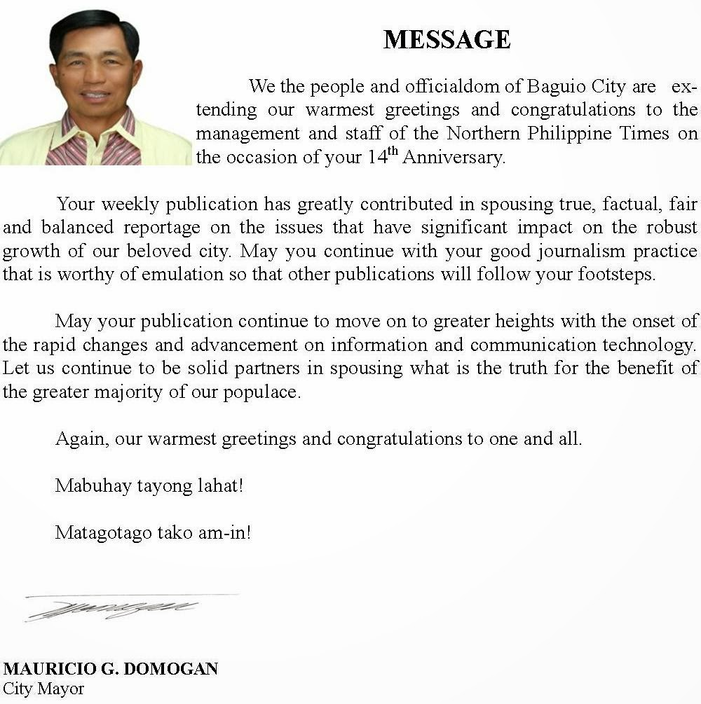 Baguio City Mayor Domogan's message