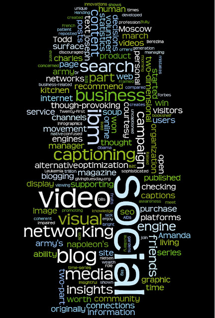The word cloud shows words in different size fonts -- the larger the word, the more times it appeared in my blog. The top words in order of size are: social, video, ibm, blog, neworking, media, business, search, captioning, insights and engine.