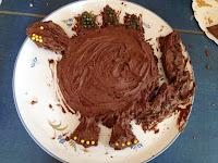 birthday cake, chocolate cake, dinosaur cake