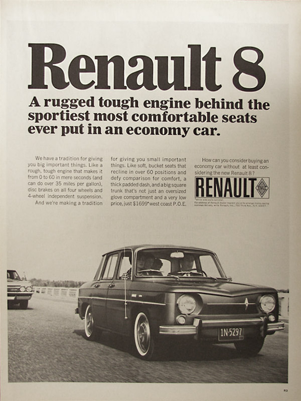 Insomniac garage classic ads 1966 renault 8 for Garage ad chateau renault
