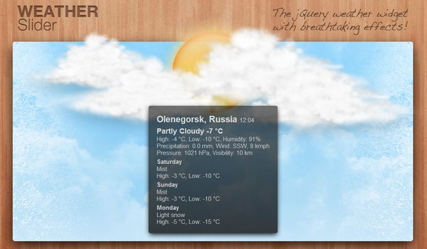 10. WeatherSlider – jQuery animated weather widget