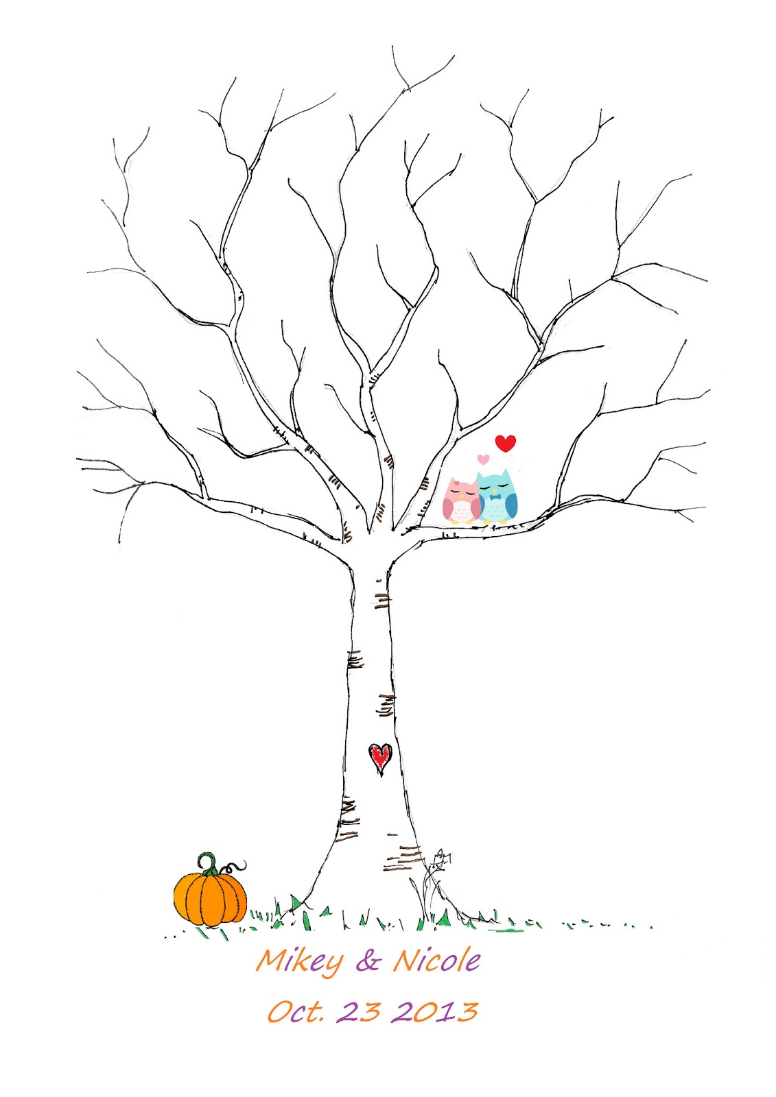 wedding fingerprint tree template