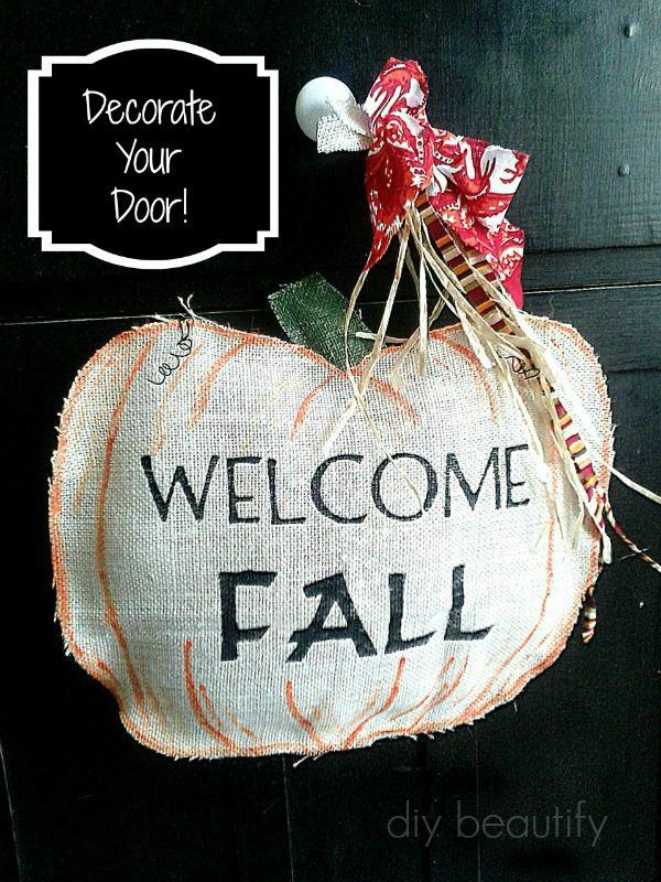 burlap door hanging