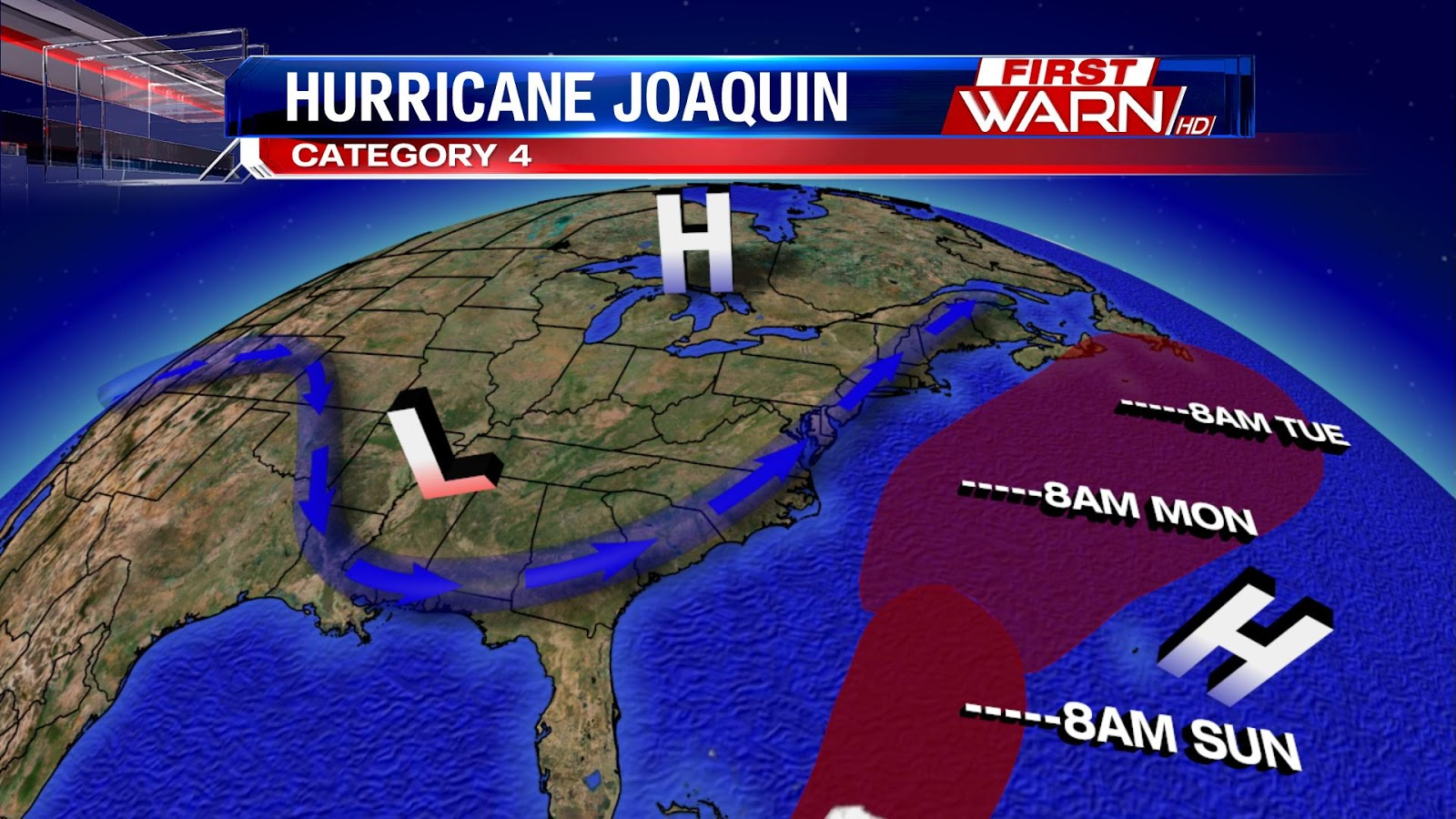 First Warn Weather Team Heavy Rain Batters The East Coast - Us weather map with high and low pressure