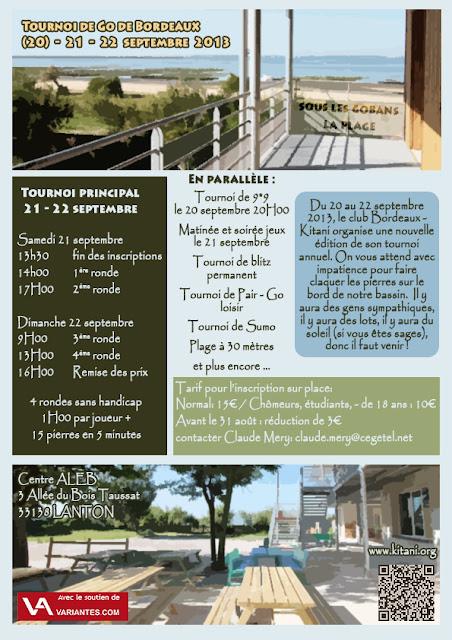 affiche du tournoi de Go de Bordeaux 2013 à Lanton. 20, 21 et 22 septembre 2013