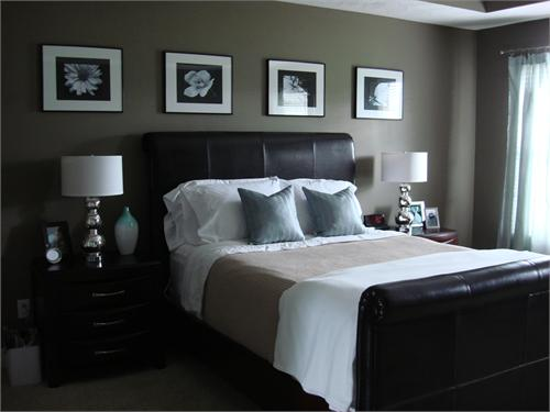 An american housewife espresso and platinum Dark brown walls bedroom