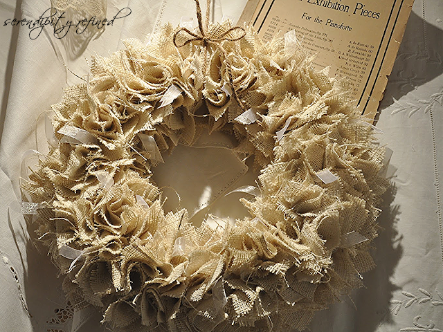 Serendipity refined blog burlap ball ornament tutorial for Burlap christmas decorations to make