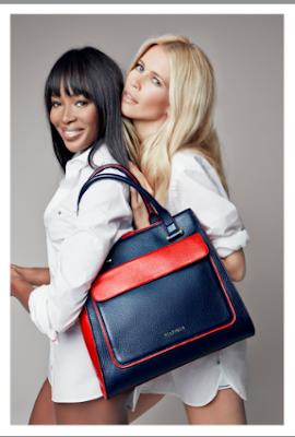 Naomi Cambell y Claudia Schiffer, imagenes del nuevo bolso de Tommy Hilfiger.
