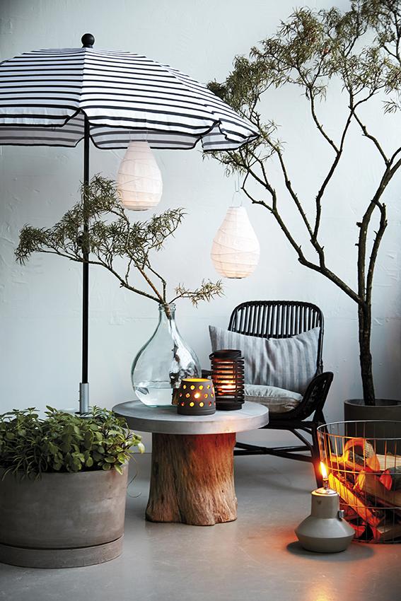 lanternor av papper, papperslampor, mysigt på altanen, balkongen, balkong, altan, trädäck, trädäcket, house doctor, inredning, webbutik, webbutiker, webshop