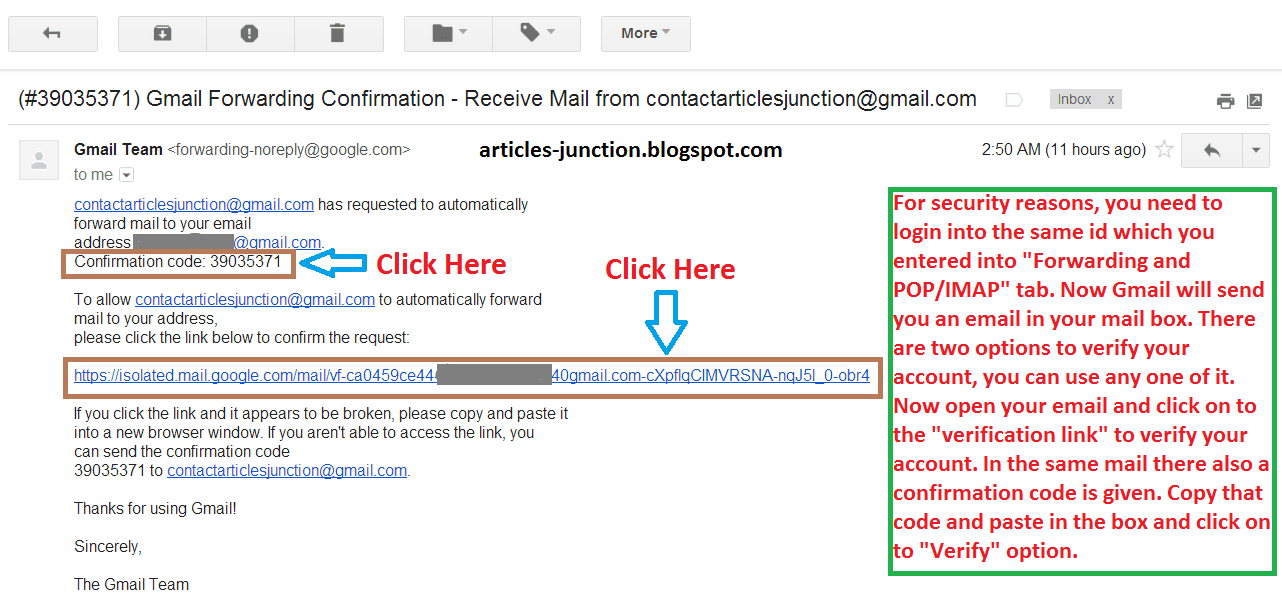 Verification link in Gmail mail box