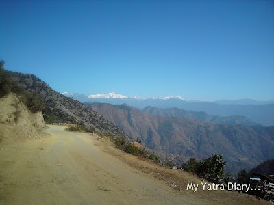 Uneven roads with beautiful views encountered in the Garhwal Himalayas during the Char Dham Yatra