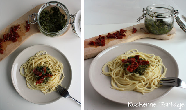 makaron spaghetti, pesto, bazylia, suszone pomidory, obiad, kolacja,