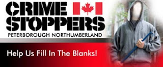 Banner Crime Stoppers Peterborough Northumberlan Help us Fill In The Blanks - Depicts featureless person in grey hoodie  with crowbar