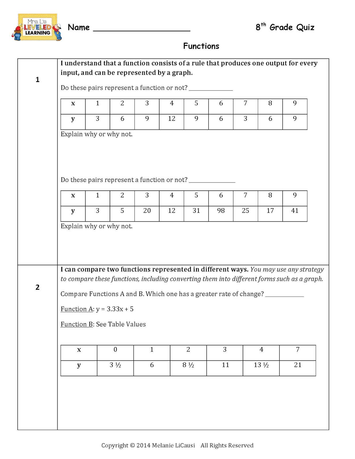 Free 8th grade common core math worksheets
