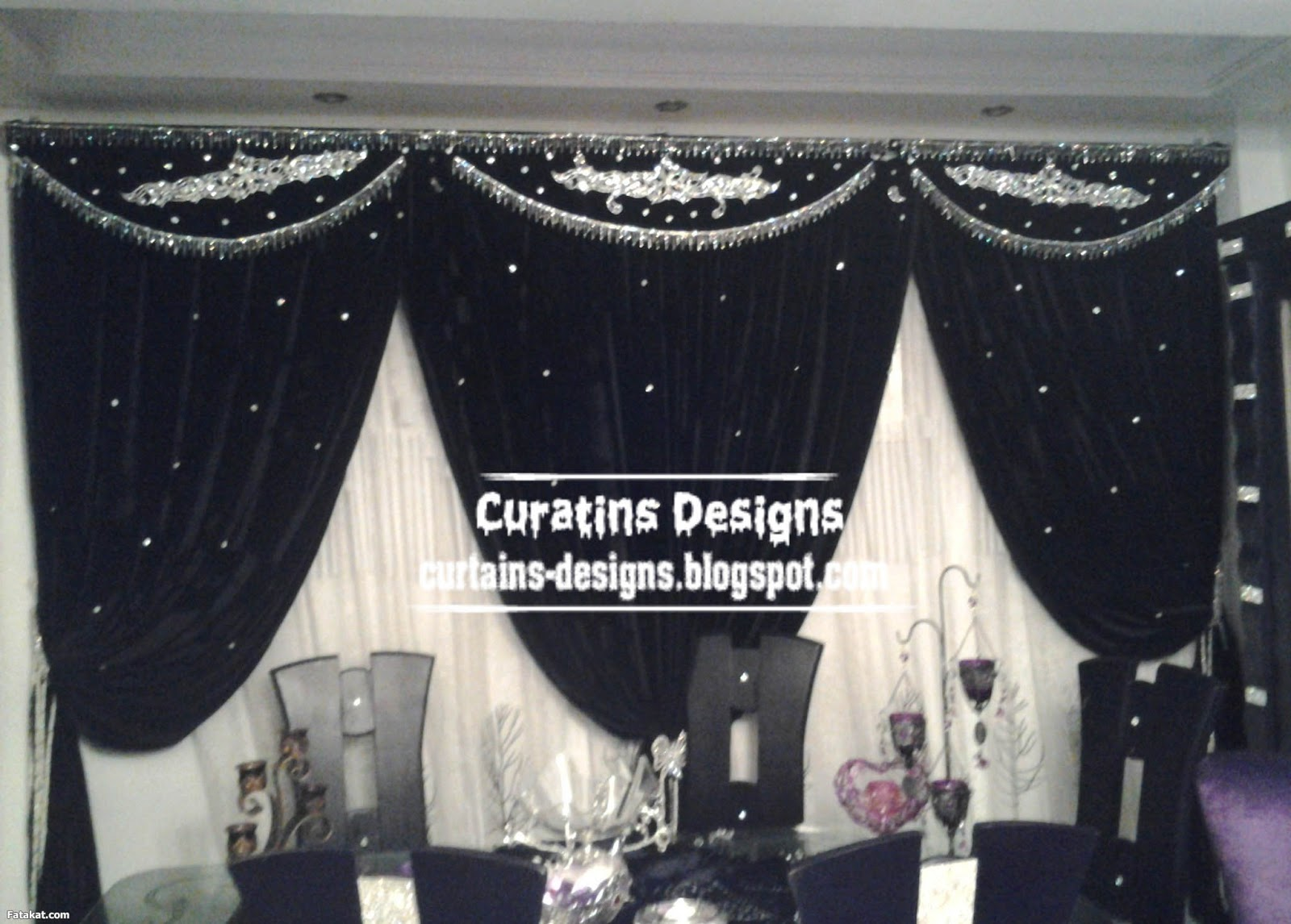 Unique black curtain for dining room interior design - silver  title=