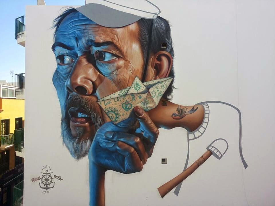 Belin recently stopped by the lovely city of Puerto De La Cruz in Spain where he was invited to paint for the Puerto Street Art Festival.