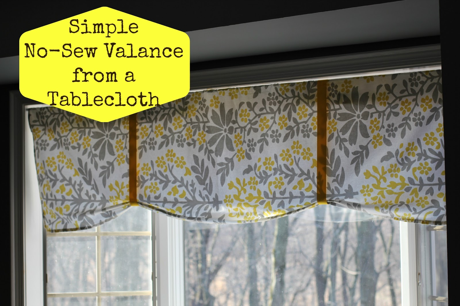 Our Life In A Click Simple No Sew Valance From A Tablecloth