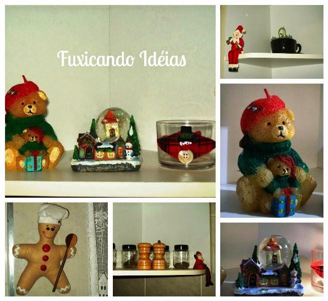 decoracao cozinha natal : decoracao cozinha natal:Ursinho de vela, snow globe e o cozinheiro gingerbread que comprei ano