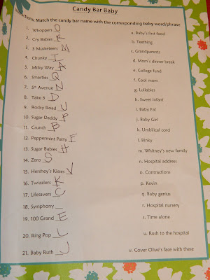 Dashing image with printable baby shower candy bar game with answers