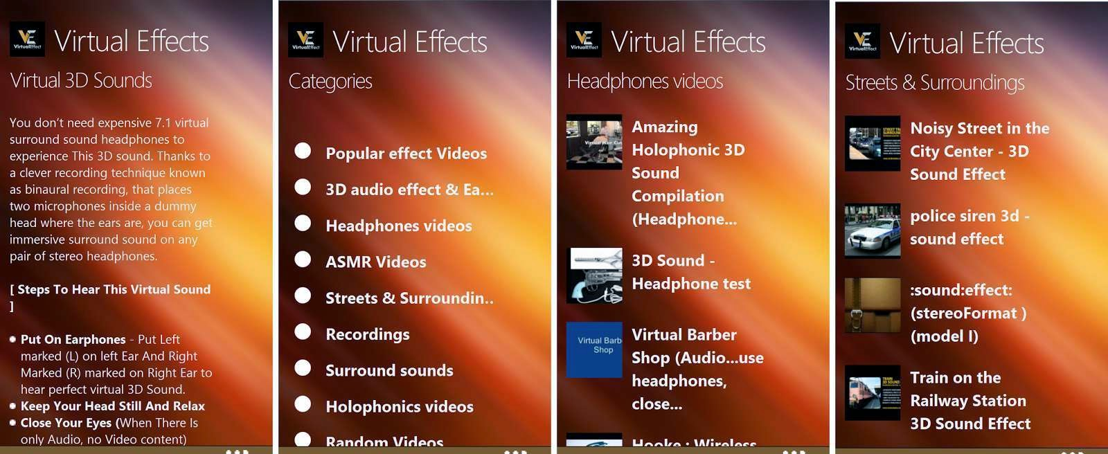 Virtual Effects - 3D Virtual Sound for Windows Phone