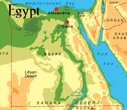 Travel In Egypt - Map of egypt elevation