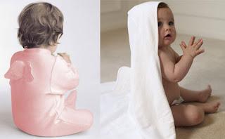 toalha de banho de bebe com asinhas de anjo